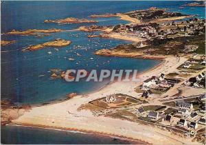 Moderne Karte Tregastel La Greve Blanche et Pors Coz Au Fond l'Ile Renot