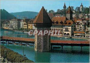 Moderne Karte Luzern Reussquai mit Kapellbrucke
