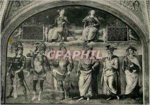 Moderne Karte Perugia Salle du Cambio Force et Temperance Perugino