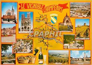 Moderne Karte Le Vignoble Champenois Hermenonville Cathedrale de Reims Avenay Val d'Or