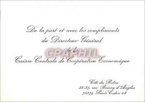 Carton invitation De la Part et avec les Compliments du Directeur Generale Caisse Centrale de Cooper