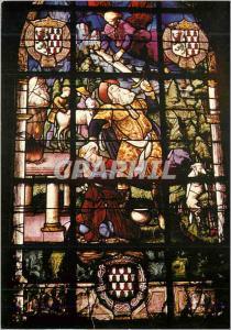 Moderne Karte Champeaux L'Eglise Ancienne Collegiale (XIVe XVe Siecle) Vitrail du Sacrifice d'Abraham