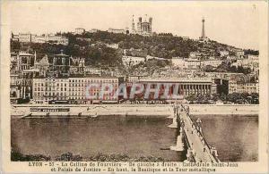 Ansichtskarte AK Lyon La Colline de Fourviere Cathedrale Saint Jean et Palais de Justice La Basilique et la Tour
