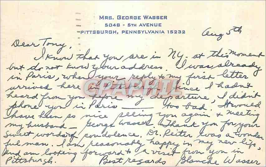 Carte  Pittsburgh Pennsylvania Mrs George Wasser 5th Avenue 0