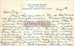 Carte  Pittsburgh Pennsylvania Mrs George Wasser 5th Avenue