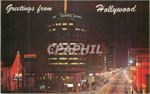 Moderne Karte Glamourous Hollywood Calif Spectacular Nite View of the Famous Round