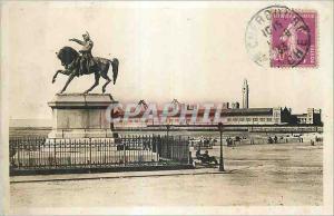 Moderne Karte Cherbourg La Statue Napoleon 1er devant la Nouvelle Plage et la Nouvelle Gare Maritime