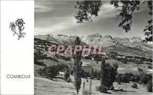 Moderne Karte Combloux (Haute Savoie) Chamonix Comboux et la Chaine des Aravis de la route Megeve a Saint Gerv