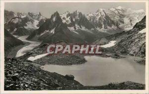 Moderne Karte Chamonix Le Lac Blanc et la Chaine du Mont Blanc