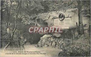 Ansichtskarte AK Foret de Fontainebleau L'Entree de la Caverne d'Augas et Medaillon Paul Merwart