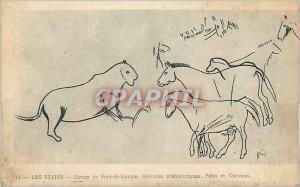 Ansichtskarte AK Les Eyzies Grotte de Font de Gaume Gravures Prehistoriques Felin et Cheveaux