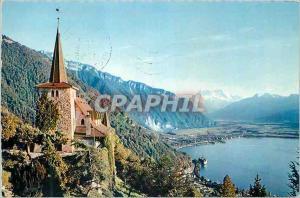 Moderne Karte Montreux L'Eglise de Glion et les Dents du Midi