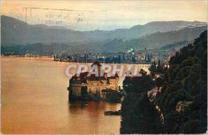 Ansichtskarte AK Montreux Le Chateaux de Chillon et la Ville au Crepuscule