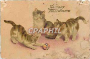 Ansichtskarte AK Heureux Anniversaire Chats