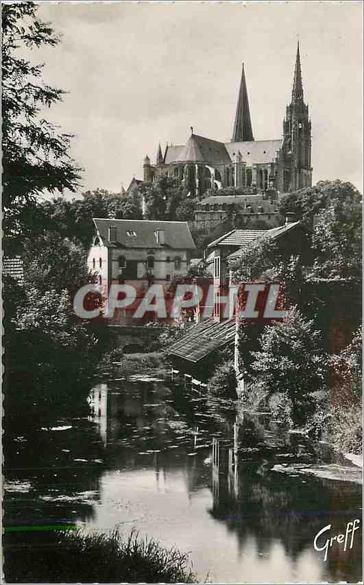Moderne Karte Chartres (Eure et Loir) En Beauce Bords de l'Eure et la Cathedrale 0