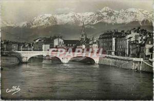 Moderne Karte Les Belles Alpes Francaises Grenoble Pont de l'Hopital et les Alpes