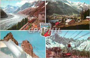 Moderne Karte Chamonix Mont Blanc (Hte Savoie) Vue Generale et le Mont Blanc Funiculaire Train