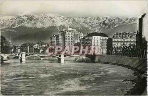 Moderne Karte Grenoble Les Belles Alpes Francaises Pont de la Porte de France et les Alpes