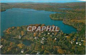 Moderne Karte Wayne Maine Aerial View of the Village Center Showing the Mill Pond and Lake Pocasset