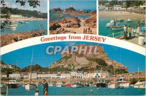 Moderne Karte Greetings from Jersey most Southerly and Largest of the chanel Islands