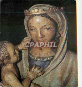 Moderne Karte Vierge a l'Enfant Bois Sculpte Polychrome Artisanats des Monasteres de Bethleem