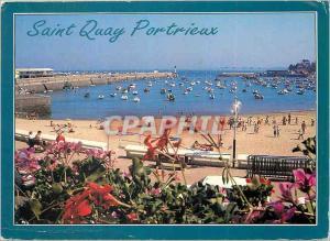 Moderne Karte Saint Quay Portrieux (Cotes d'Amour) La Bretagne en Couleur La Plage du Port