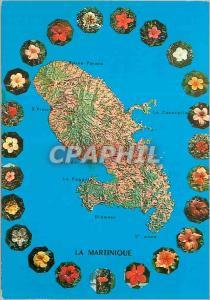 Moderne Karte Martinique Madinina L'Ile aux Fleurs Hibiscus