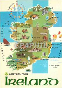 Moderne Karte Greetings from Ireland an Island is the Most Westerly Country in Europe