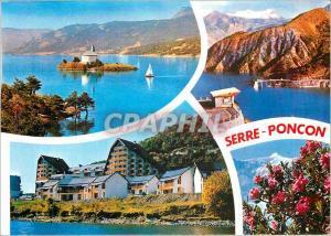 Moderne Karte Les Hautes Alpes Lac de Serre Poncon Chapelle St Michel le Belvedere