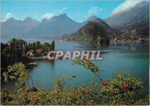 Moderne Karte Lac d'Annecy Le Petit Lac et le Massif des Bauges Talloires et Duingt