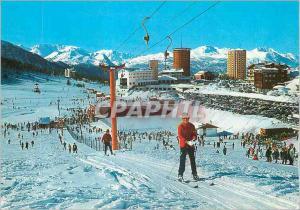Moderne Karte Sestriere m 2035 Ski Lift Jolly au fond Depart de la Telepherique et Grand Hotels Ski