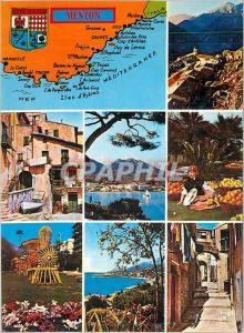 Moderne Karte Menton (Alpes Maritimes) La Cote d'Azur Couleurs et Lumiere de France