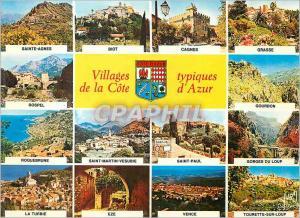 Moderne Karte Villages Typiques de la Cote d'Azur Couleurs et Lumiere de France