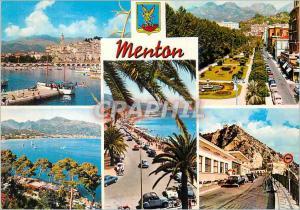 Moderne Karte Menton Perle de la France La Cote d'Azur Le Port Le Jardin Vue sur Carnoles et Menton Frontiere