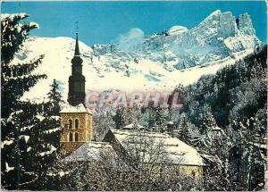 Moderne Karte Saint Gervais (800 m) Haute Savoie Son Clocher Savoyard et le Roc des Fiz