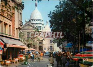 Moderne Karte Paris La Place du Tertre et la Sacre Coeur Couleurs et Lumiere de France