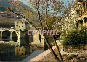 Moderne Karte Millau (Aveyron) Porte des gorges du Tarn Les bords du Tarn le musee du Vieux Moulin et le pont