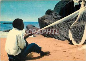 Moderne Karte Cameroun Littoral Kribi Fabrication d'un filet de peche