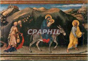 Moderne Karte Firenze Galleria Uffizi Gentile da Fabriano Adoration des Roi Mages Detail Fuite en Egypte