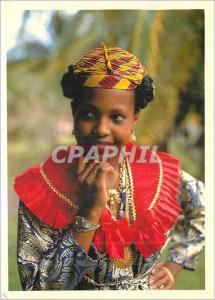 Moderne Karte La Martinique Martiniquaise en Costume Traditionnel