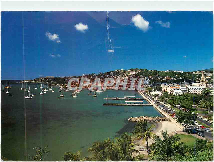 Moderne Karte Martinique Frot de France Images des Antilles Le Mouillage de la Baied des Flamands et la Plage 0