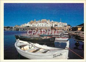 Moderne Karte Le Village de Peniscola Sur la Cote Mediterraneenne de l'Espagne Bateaux