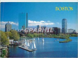 Moderne Karte Boston Massachusetts USA Backy Bay Skyline Along the charles River