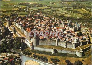 Moderne Karte La Cite de Carcassonne (Aude) Vue Generale par avion de la Cite Medievale (carte toilee)