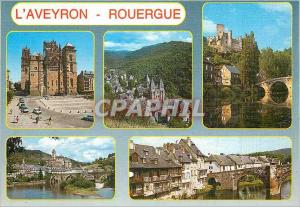 Moderne Karte Rouergue L'Aveyron Rodez Conques Le Chateau de Belcastel Estaing sur les Bords du Lot et les Qua