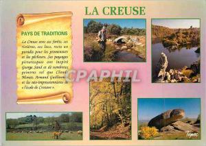 Moderne Karte Creuse Pays de Traditions Chien Chasse Peche