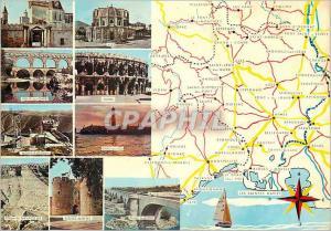 Moderne Karte Le Departement du Gard et ses Beaux Circuits Touristiques Uzes Ales Pont du Gard Grau du Roi Aig