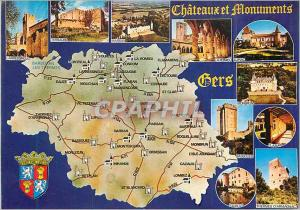 Moderne Karte Gers Chateaux et Monuments Larressingle Terraube Marsan La Romeu Lupiac Monbrun Bassoues