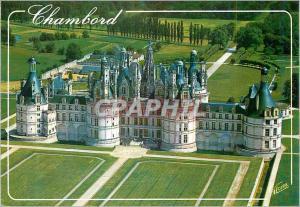 Moderne Karte Chambord (Loir et Cher) la Facade Principale (156 Metres) du Chateau (XVIe siecle) vue d'Avion l