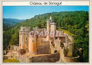 Moderne Karte Bonaguil (L et Gar) le Chateau vue Aerienne